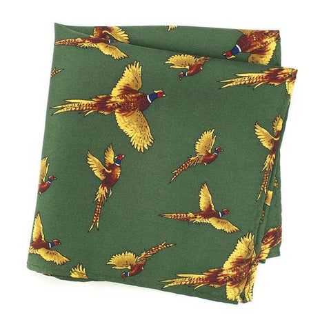 Forest Green With Flying Pheasants Silk Handkerchief