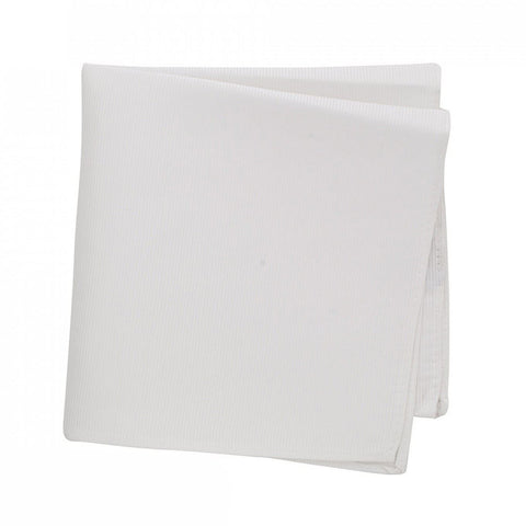 Plain White Woven Silk Handkerchief