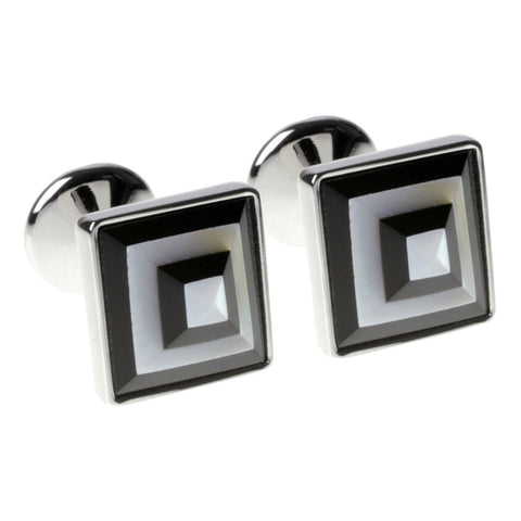 Black and White Gem Pyramids Cufflinks