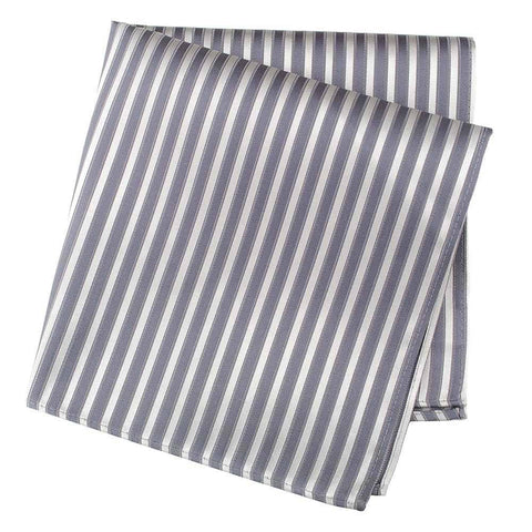 Grey And Silver Striped Woven Silk Handkerchief