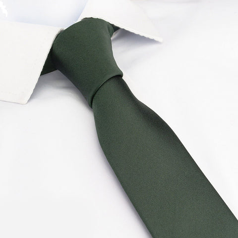 Plain Dark Green Slim Silk Tie