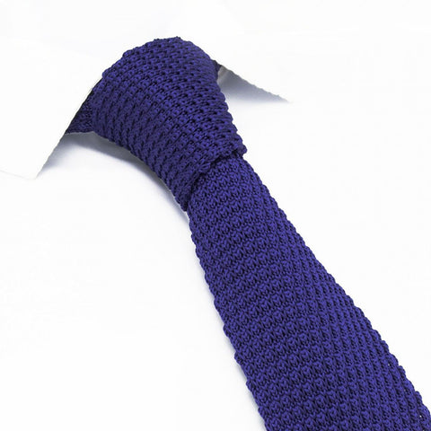 Dark Purple Knitted Square Cut Tie