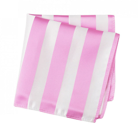 Pink & White Striped Silk Handkerchief