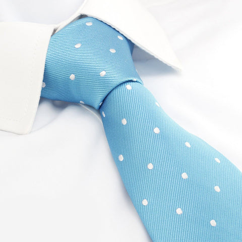 Sea Blue Polka Dot Silk Tie