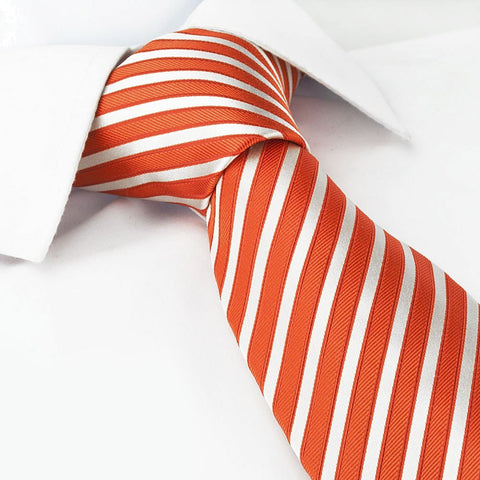 Orange And White Striped Luxury Silk Tie