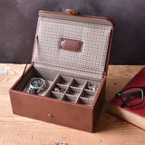 Jacob Jones Tan & Check Watch & Cufflink Box