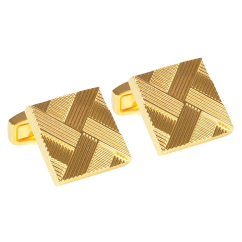 Acid Gold Plated Patterned Cufflinks