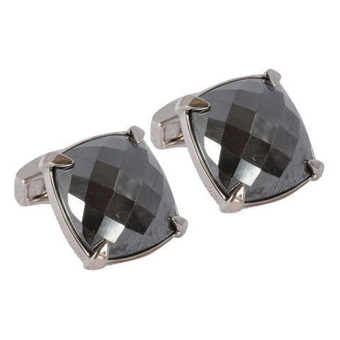 Faceted Hematite Stone Cufflinks