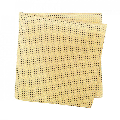 Yellow Neat Pin Dot Silk Handkerchief