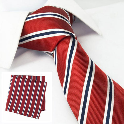 Red With White & Navy Stripes Silk Tie & Handkerchief Set