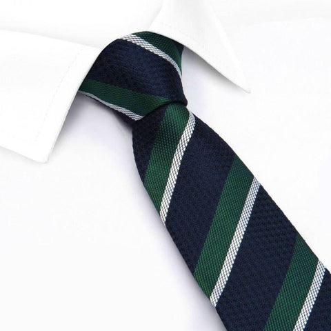 Dark Green, Navy & White Classic Club Stripe Silk Tie