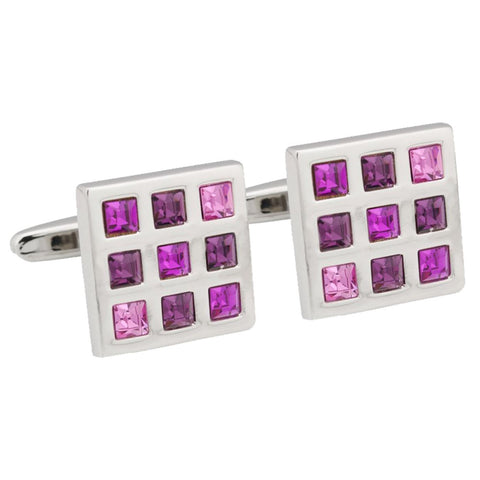 Pink & Purple Square Cufflinks