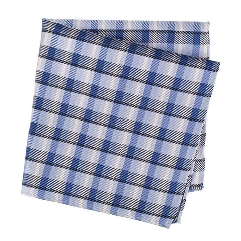 Blue Multi Check Mens Silk Handkerchief