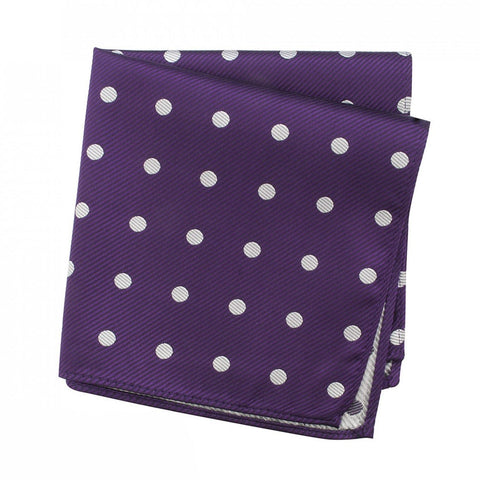 Purple Silk Handkerchief With White Polka Dots