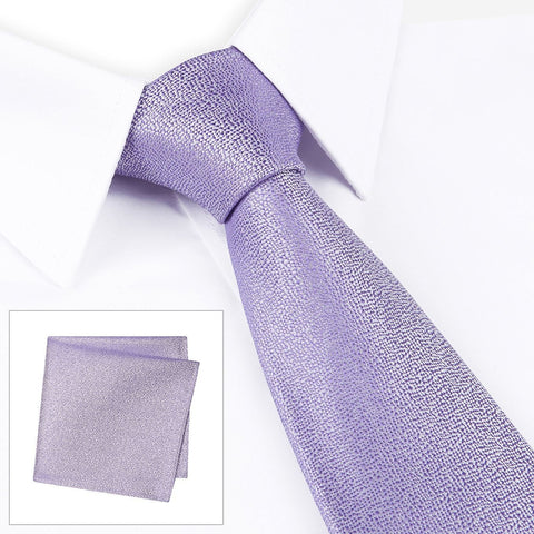 Pastel Purple Textured Woven Silk Tie & Handkerchief Set