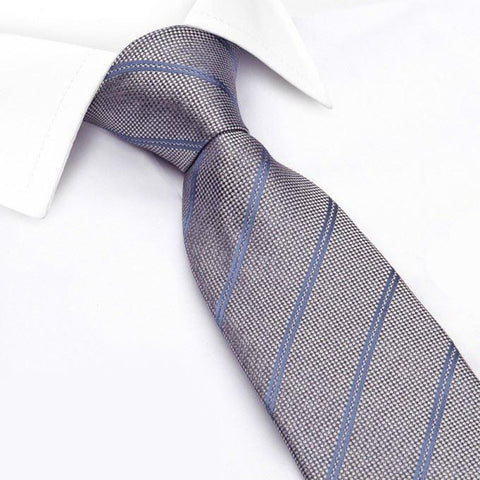 Grey Classic Textured Silk Club Stripe Tie