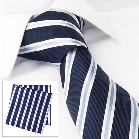 Navy With White & Blue Stripes Silk Tie & Handkerchief Set
