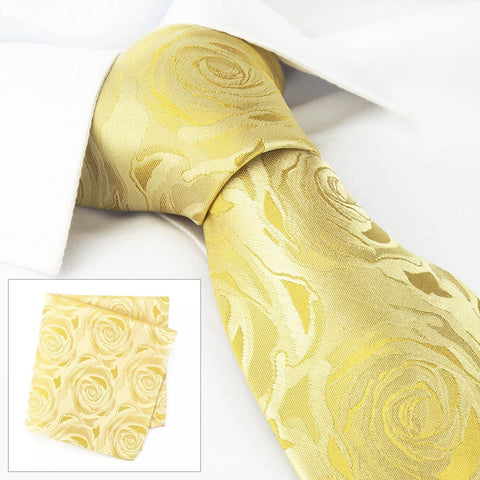 Gold Rose Luxury Woven Silk Tie & Handkerchief Set