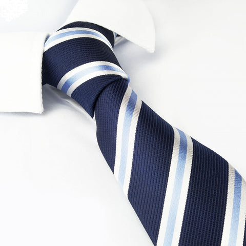Navy Slim Silk Tie With Blue & White Stripes