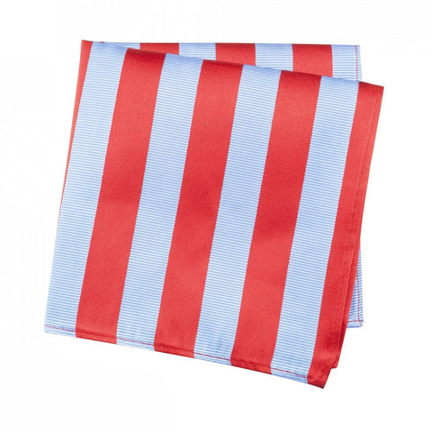 Red & Blue Woven Striped Silk Handkerchief