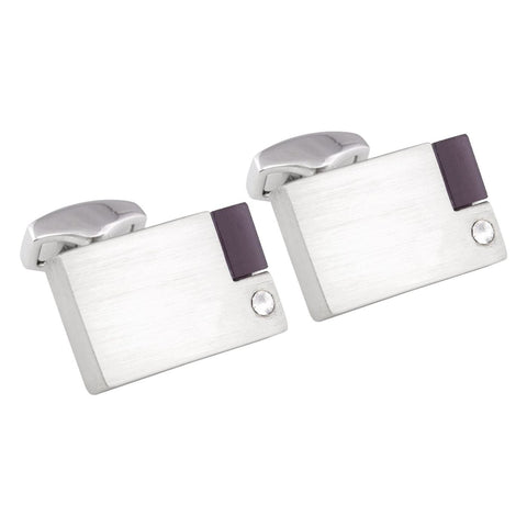 Brushed Rhodium Cufflinks with Crystal & Purple Stone