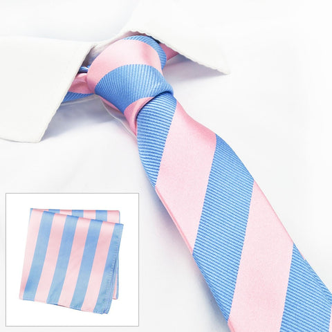 Pink & Blue Woven Striped Slim Silk Tie & Handkerchief Set