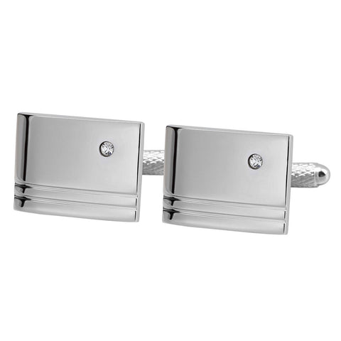 Classic Silver Cufflinks with White Crystal