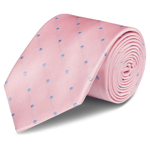 Pink & Blue Polka Dot Silk Tie