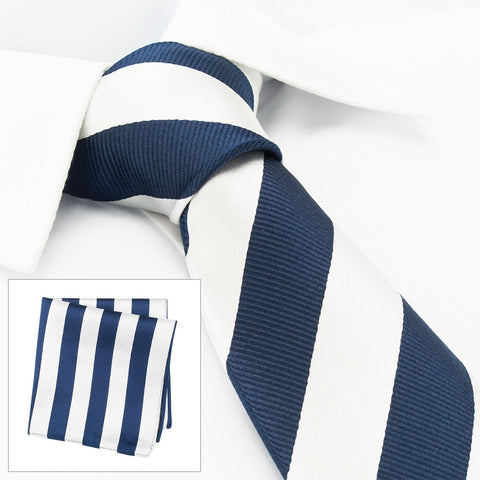 Silver & Navy Woven Striped Silk Tie & Handkerchief Set