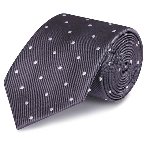 Charcoal Grey Polka Dot Silk Tie