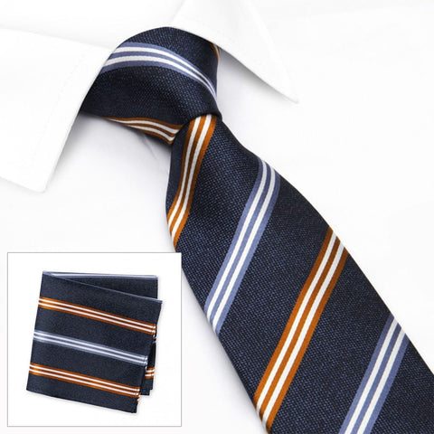 Blue & Burnt Orange Textured Silk Club Stripe Tie & Handkerchief Set