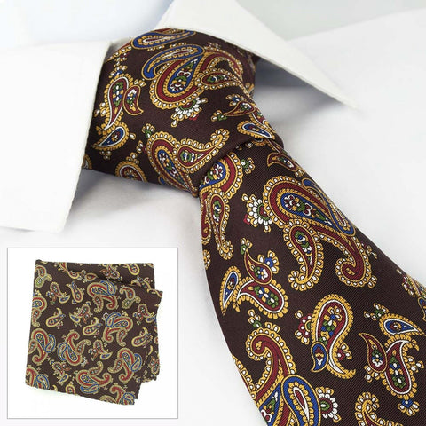 Brown Silk Tie & Handkerchief Set With Large Paisley Design