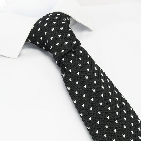 Black Spot Knitted Square Cut Tie
