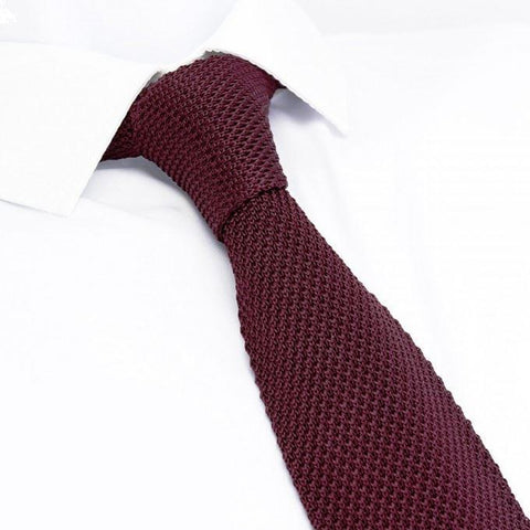 Wine Knitted Square Cut Silk Tie