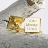 Engraved Cufflinks, Gold Plated Square
