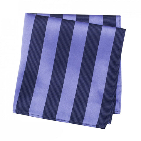 Lilac & Navy Woven Striped Silk Handkerchief