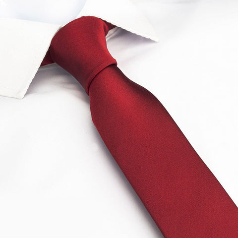 Plain Red Slim Silk Tie