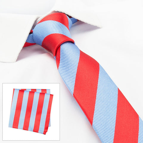 Red & Blue Woven Striped Slim Silk Tie & Handkerchief Set