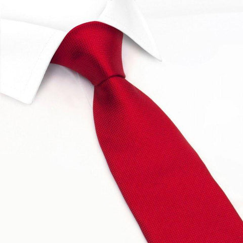 Dark Red Silk Plain Classic Textured Tie