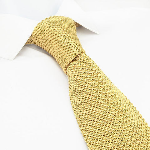 Gold Knitted Square Cut Silk Tie