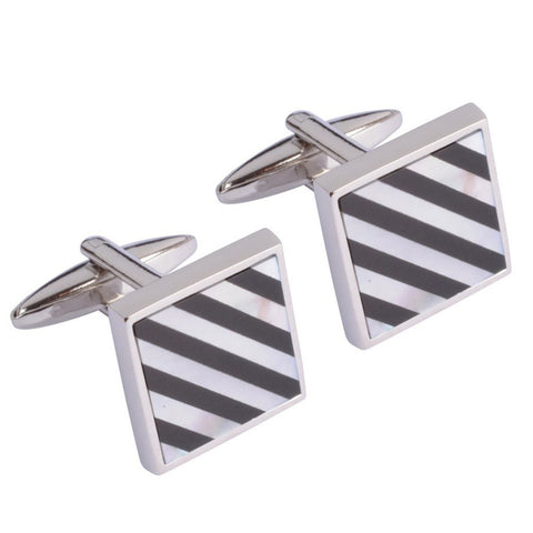 Black and Mother of Pearl Striped Square Cufflinks