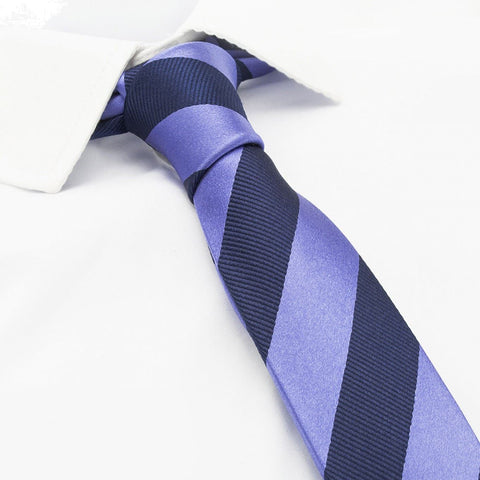 Lilac & Navy Woven Striped Slim Silk Tie