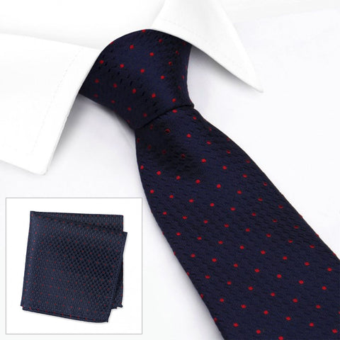 Navy & Red Classic Textured Spot Silk Tie & Handkerchief Set