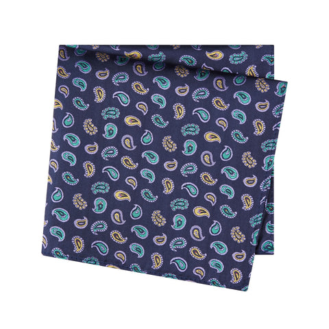 Navy Paisley Tear Drop Silk Handkerchief