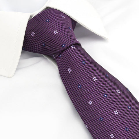 Purple Flower Spot Silk Tie