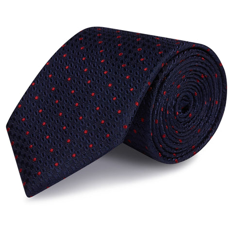 Navy & Red Classic Textured Spot Silk Tie