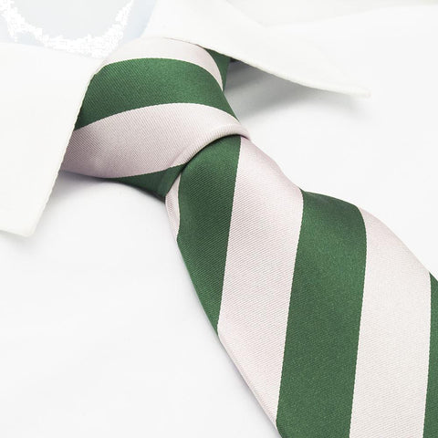 Green & Pink Striped Satin Silk Tie