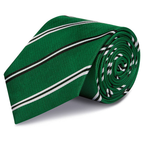 Emerald Green Classic Club Stripe Silk Tie