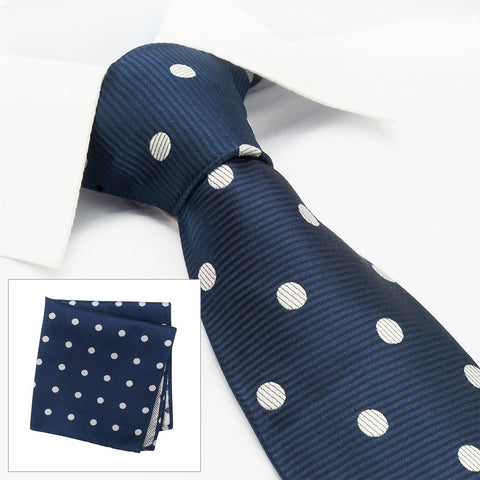 Navy Silk Tie & Handkerchief Set With White Polka Dots