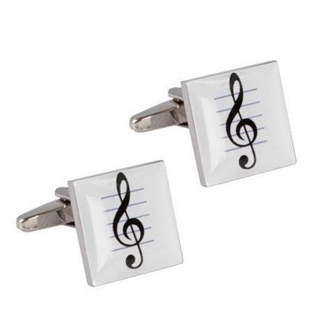 Musical Note White Enamel Cufflinks